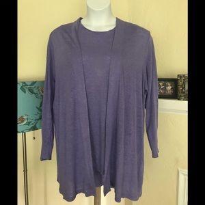 J Jill  Love Linen Sweater Tank Set purple 2X